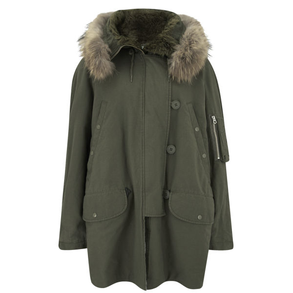 McQ Alexander McQueen Women's Fur Hooded Parka with Checked Lining - Khaki
