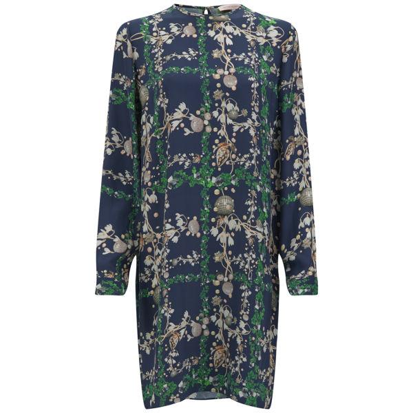 Matthew Williamson Women's Fantasy Plaid Printed Silk Shift Dress - Navy/Green/Nude