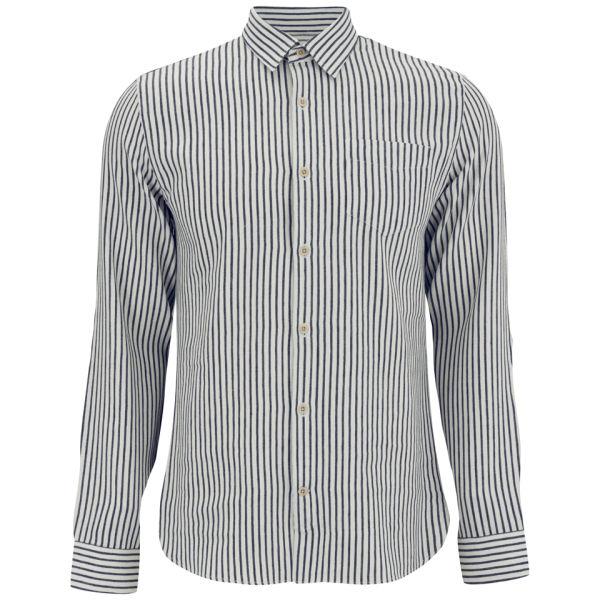 Hardy Amies Men's Linen Mix Shirt - White/Navy