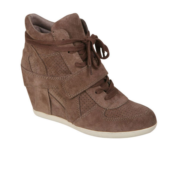 Ash Women's Bowie Suede Wedged Hi-Top Trainer - Stone