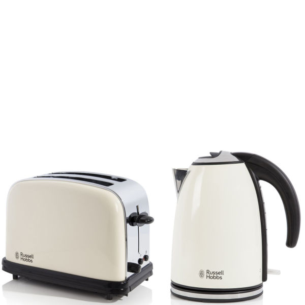 russell hobbs 1 7 litre jug kettle cream and classic 2 slice toaster cream homeware. Black Bedroom Furniture Sets. Home Design Ideas