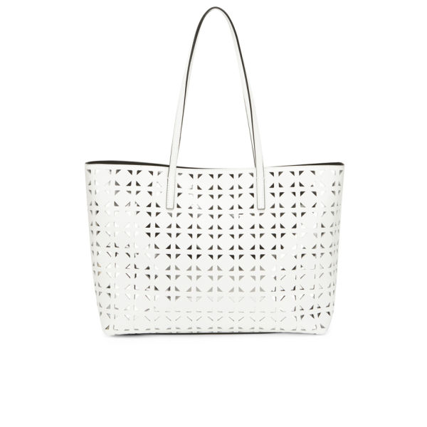 Milly Women S Palmetto Leather Perforated Tote Bag White Image 1