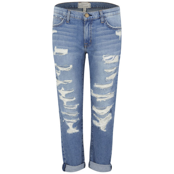 Current/Elliott Women's Fling Mid Rise Boyfriend Jeans - Tattered Destroy