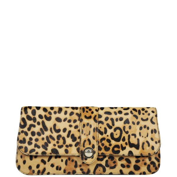 Ted Baker Olosa Leopard Print Pony Clutch Bag Light Brown