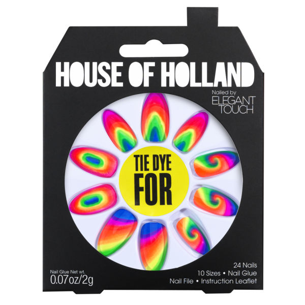 Uñas postizas House of Holland creadas por Elegant Touch - Tie Dye For