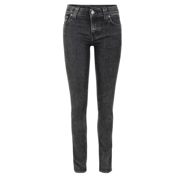 Nudie Women's Tight Long John 110954 Tears Skinny Jeans - Black
