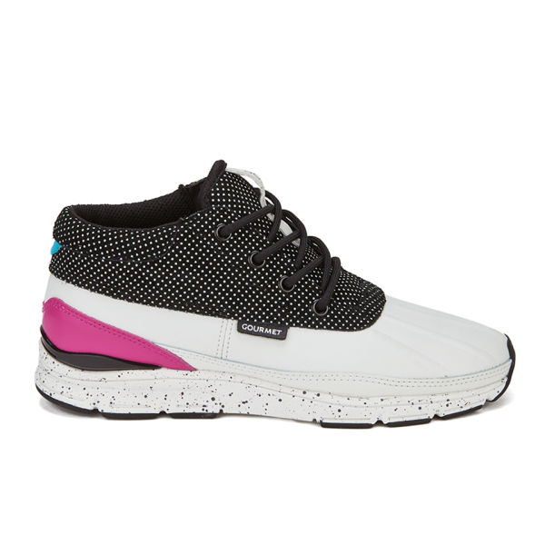 Gourmet Women's Quadici Lite LX Leather Trainers - White/Black Polka Dots