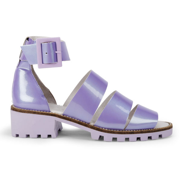 Miista Women's Penny Pearlescent Leather Sandals - Lavender