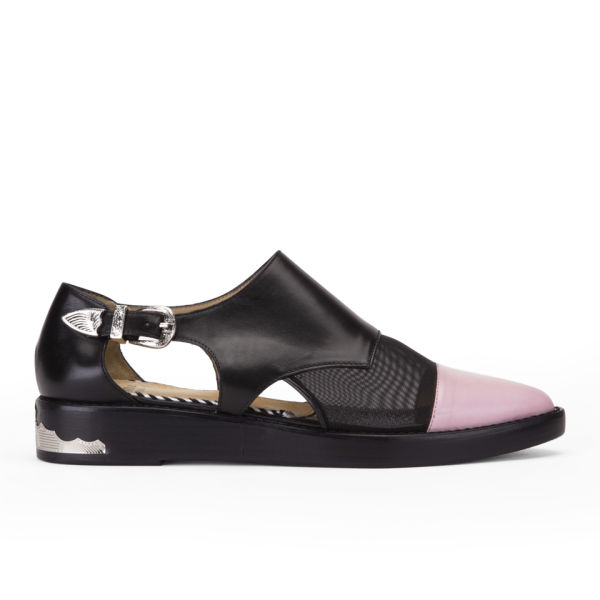 Toga Pulla Women's Buckle Leather Shoes - Black/Pink