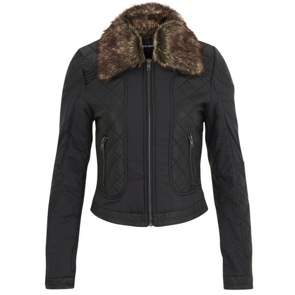 Brave Soul Women's Hanna Quilted Faux Fur Trim Jacket - Black