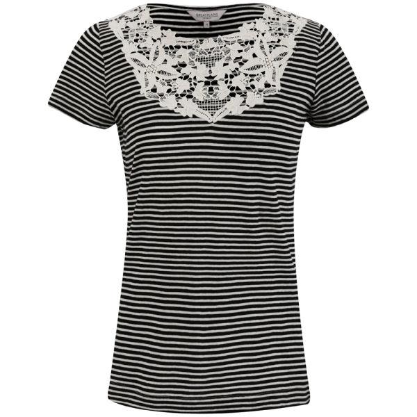 Great Plains Women's Sofia Stripe Lace T-Shirt - Black/Double Cream