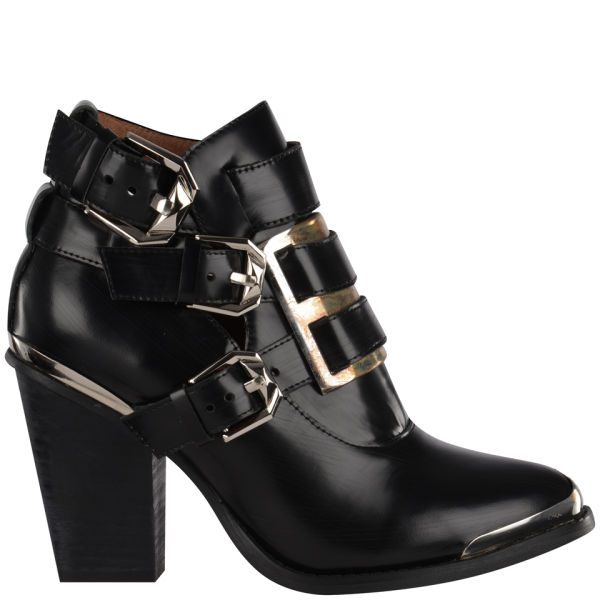 Jeffrey Campbell Women's Hyatt Buckle Leather Ankle Boots - Black
