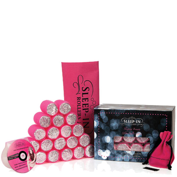 Sleep In Rollers Pink Glitter Gift Set (20 rollers, DVD plus kirby grips in iconic tote bag)