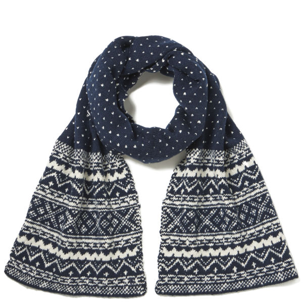 French Connection Evan Fairisle Scarf - Marine Blue/Cuba White
