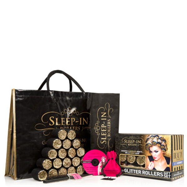 Sleep In Rollers Black and Gold Gift Set