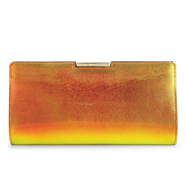 MILLY Crosby Iridescent Leather Frame Clutch Bag - Orange