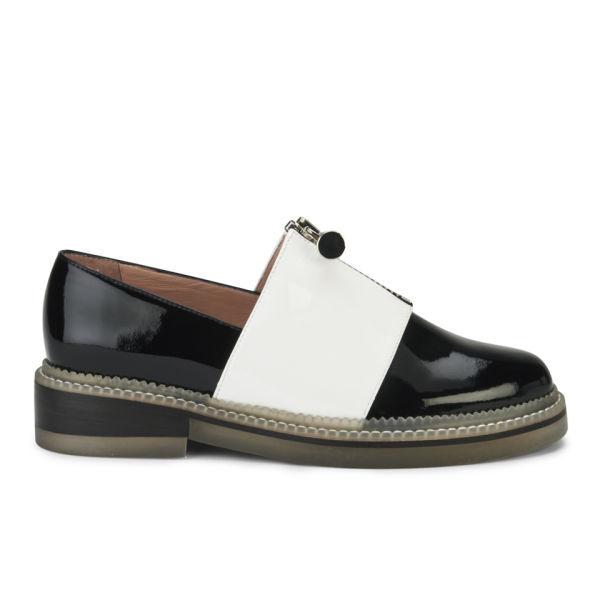 Carven Women's Zip Front Colourblock Leather Moccasins - Black/White