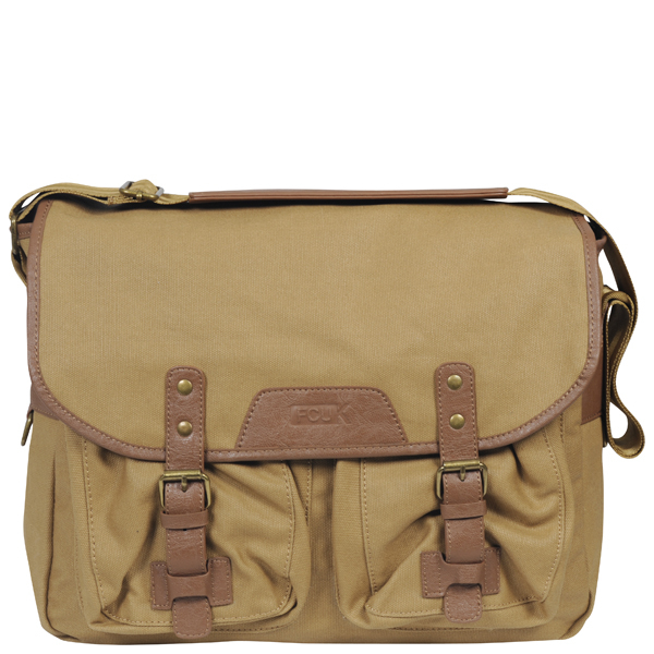 french connection mens waxed canvasleather messenger bag