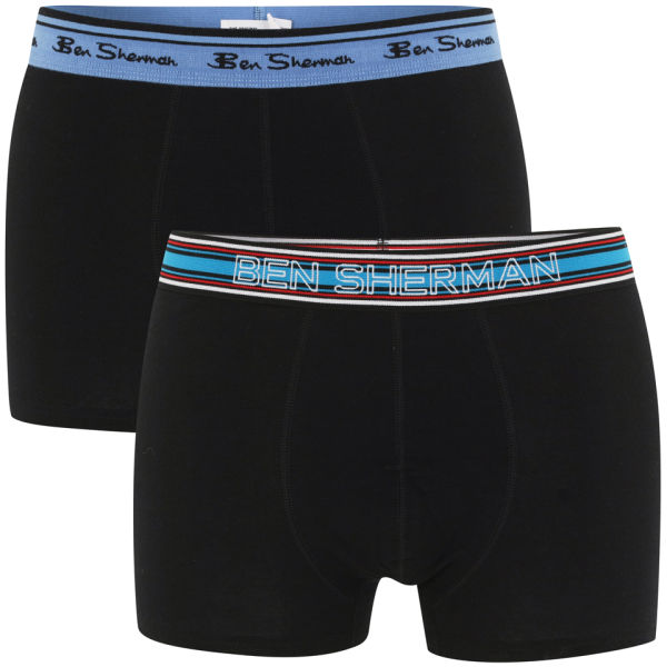 Ben Sherman Men's 2-Pack Boxers - Black and Red With Contrast Waistband