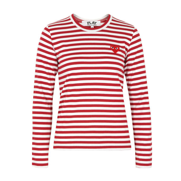 Comme des Garcons PLAY Women's T163 Top - White & Red Stripe