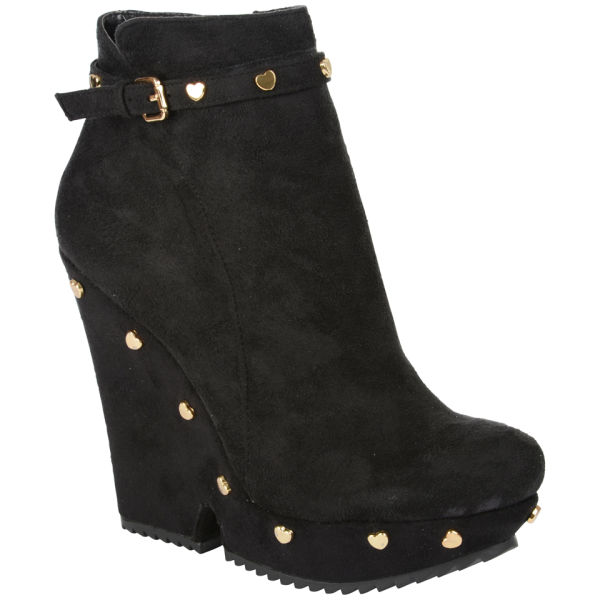 Love Moschino Women's Suede Heeled Boots - Black