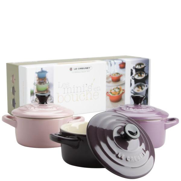 le creuset 3er set mini auflaufformen pink malvenfarbig lila sowia. Black Bedroom Furniture Sets. Home Design Ideas