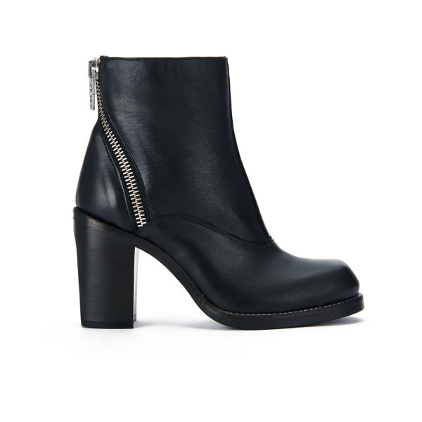 McQ Alexander McQueen Women's Nazrul Curved Zip Leather Heeled Ankle Boots - Black