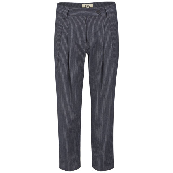 YMC Women's Pinstripe Peg Men's Fit Trousers - Navy