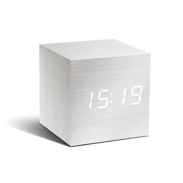 Cube Click Clock - White