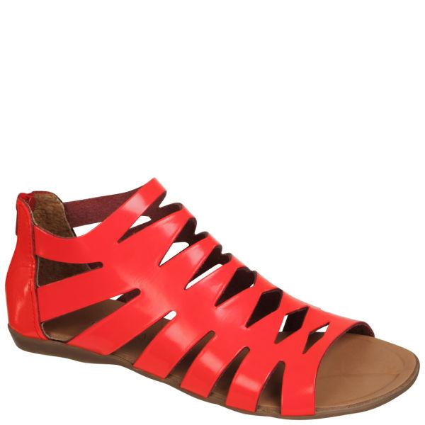 Grafea Women's Gladiator Leather Sandals - Neon Pink