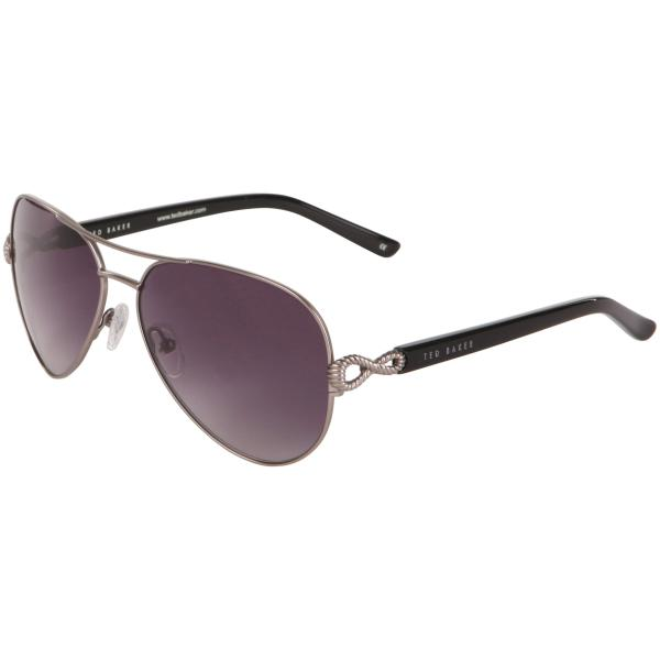 9ccea289d6a Ted Baker Anthea Loop Arm Detail Aviator Sunglasses - Gun Frame  Grey Lens   Image