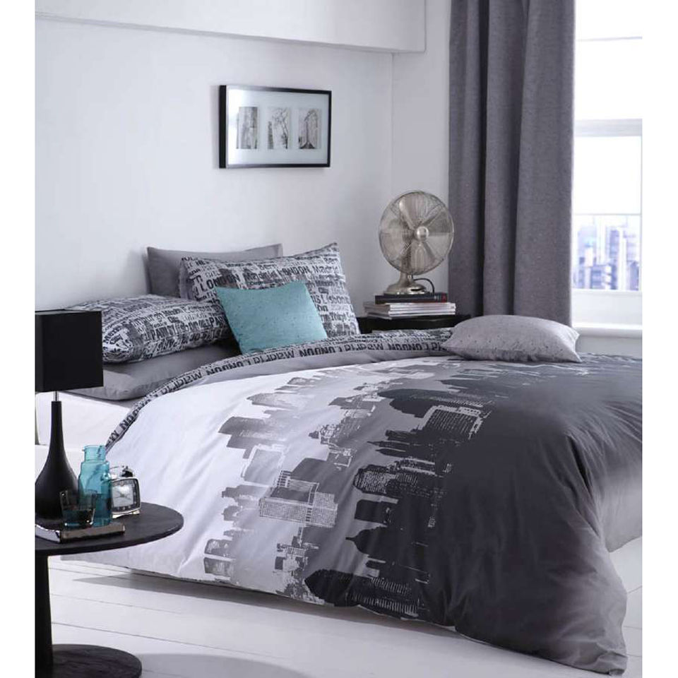 Catherine Lansfield City Scape Bedding Set - Multi - Double - multi