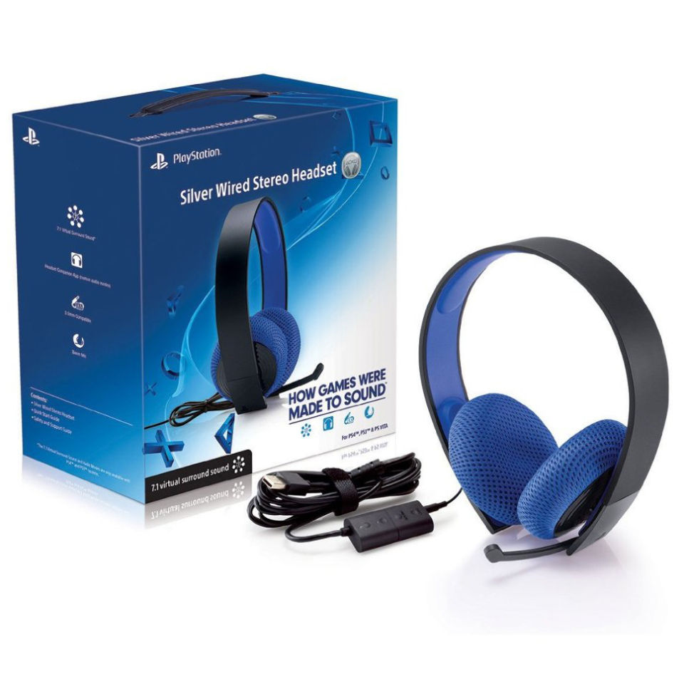 PS4 Official Sony PlayStation Silver Wired Stereo Headset - Black ...