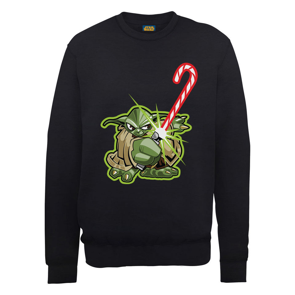 star wars christmas candy cane yoda sweatshirt black merchandise zavvi. Black Bedroom Furniture Sets. Home Design Ideas