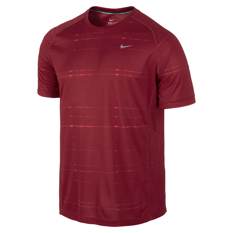 Nike men 39 s printed miler short sleeve running t shirt for Gym printed t shirts