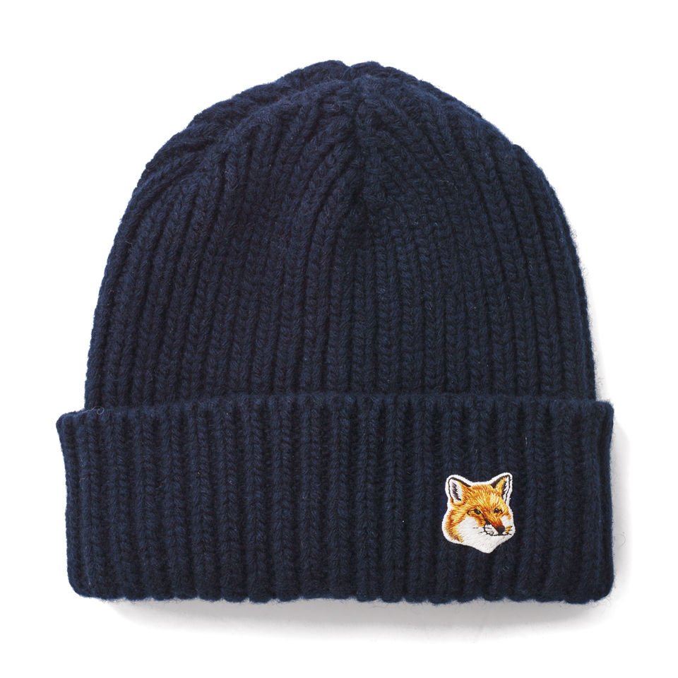 2380e466665 Maison Kitsuné Corgi Made in England Cotton Ribbed Hat - Navy - Free ...