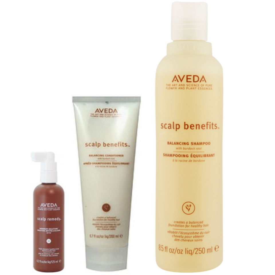Pack soins équilibrants Aveda Scalp Benefits Trio - Shampoing, après-shampoing et solution antipelliculaire