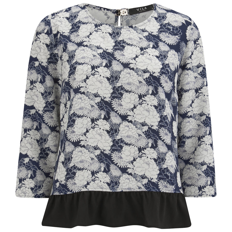 vila-women-august-floral-top-black-iris-xs-8