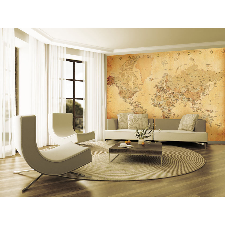 Image of 1 Wall Old Style World Map Wall Mural