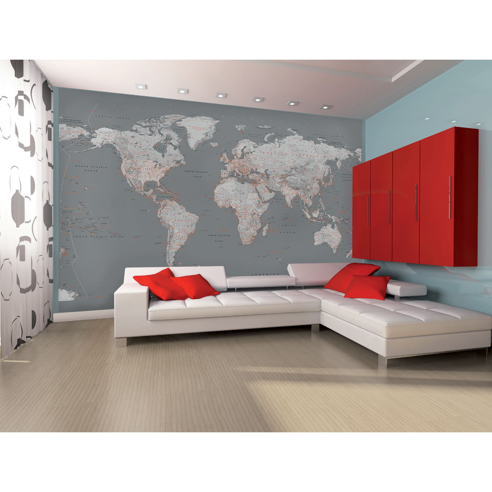 Silver map wall mural iwoot amipublicfo Choice Image