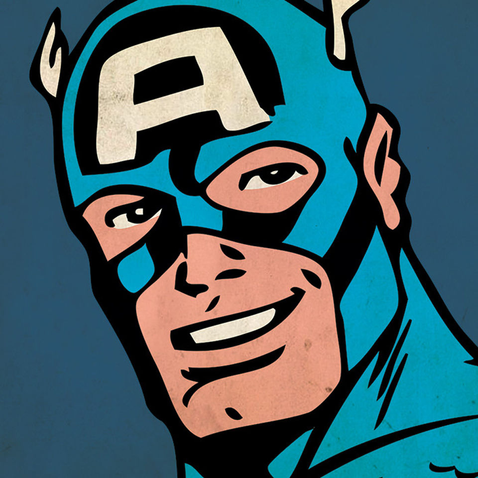 Marvel Comics Captain America Close Up 40x40cm Canvas