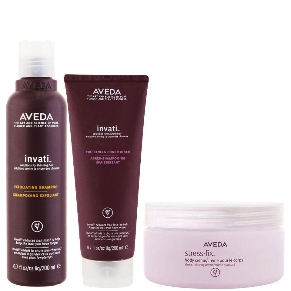 Aveda Invati Shampoo and Conditioner 200 ml with Stress-Fix Body Creme