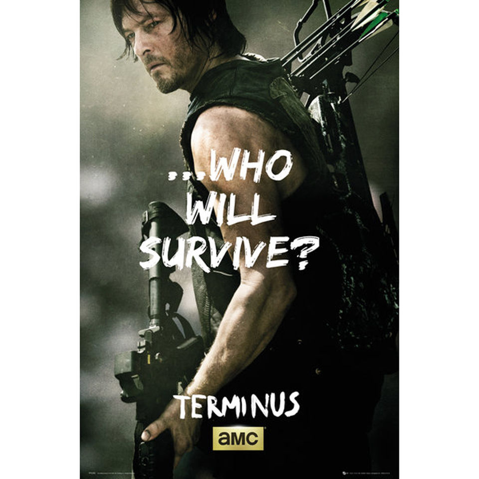 the walking dead daryl survive maxi poster 61 x. Black Bedroom Furniture Sets. Home Design Ideas