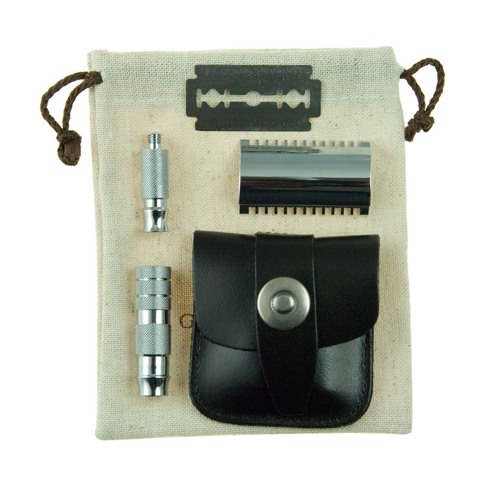 Geo. F. Trumper Double Sided Travel Razor In Leather Case