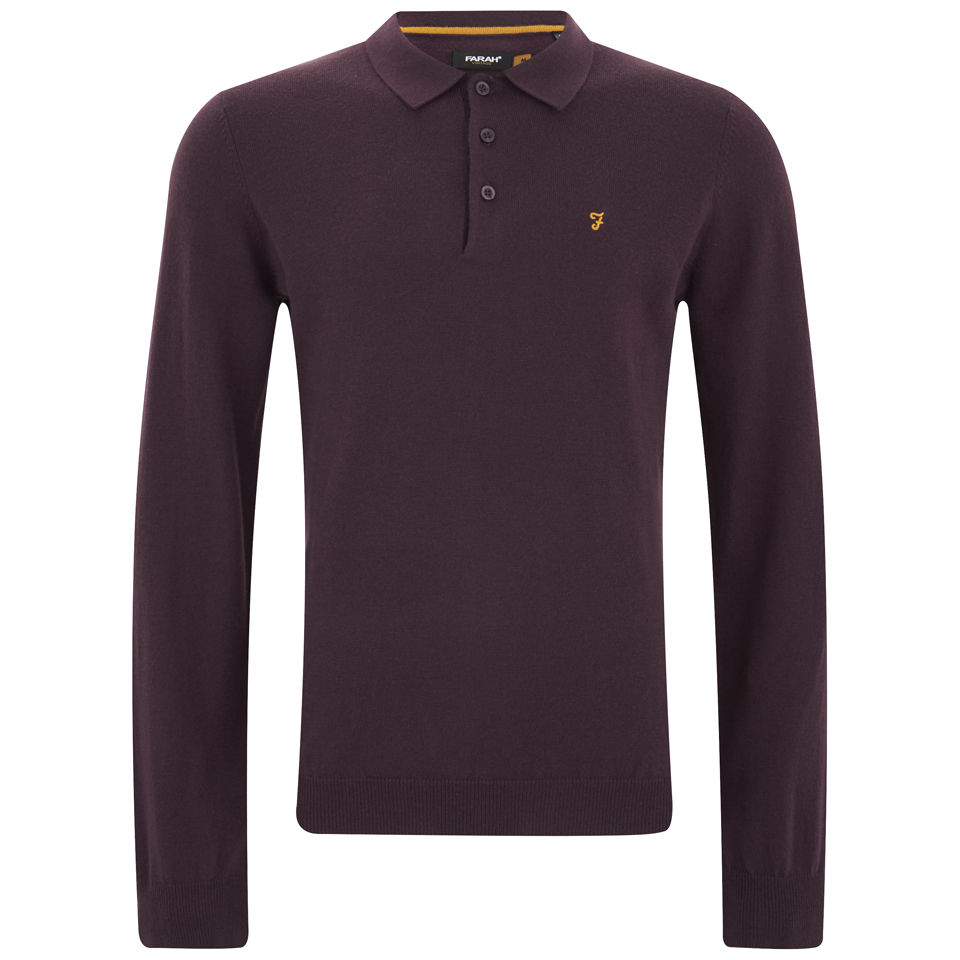 Farah Vintage Men's Affery Long Sleeve Knitted Polo Shirt - Bordeaux  Clothing | TheHut.com
