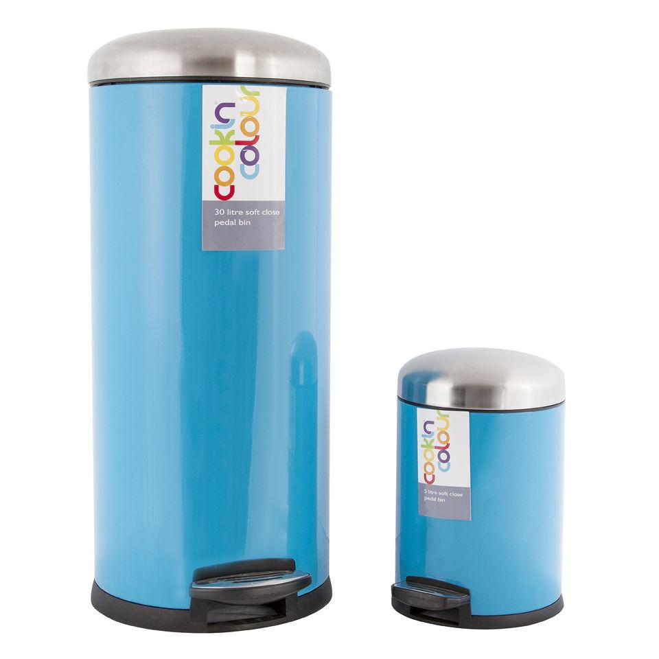 Cook In Colour Soft Close Pedal Bins (30L and 5L) - Blue Homeware ...