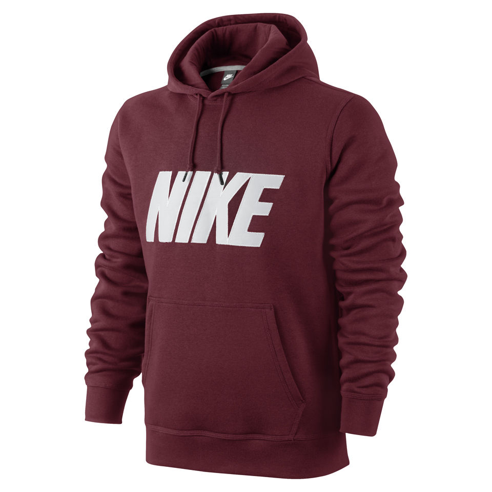 Nike Men S Club Twill Applique Logo Hoody Burgundy