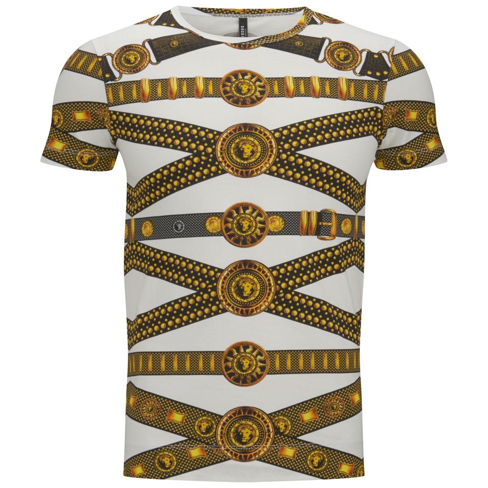 Versus Versace Men 39 S Belt Print T Shirt Black And Stamp