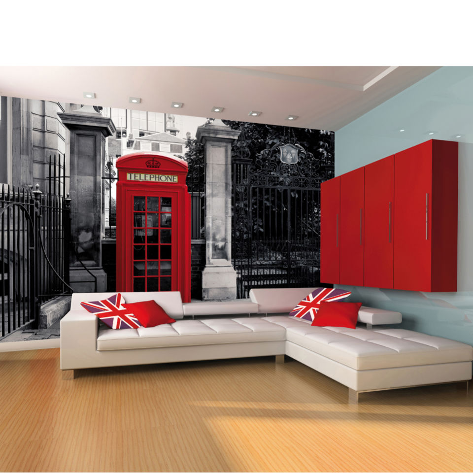 red-british-telephone-box-on-a-black-white-backdrop-wall-mural