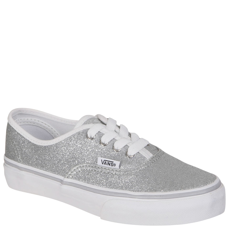 Vans Kids Authentic Canvas Trainers Glitter Silver